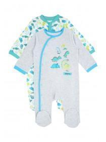 Baby Boys Grey Dinosaur Sleepsuits