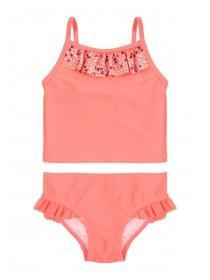 Younger Girls Coral Sequin Tankini