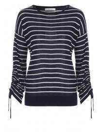 Womens Navy Striped Jumper