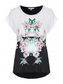 Womens Black and White Floral Printed Top