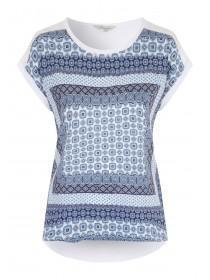 Womens Blue Paisley Print Top