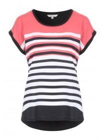 Womens Pink Striped T-Shirt