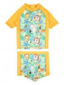Baby Boys Orange Animal Swim Set