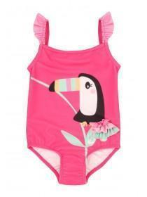 Baby Girls Pink Toucan Frill Swimsuit