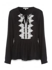 Womens Black Embroidered Peplum Top