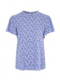 Womens Blue Floral Angel Sleeve Top