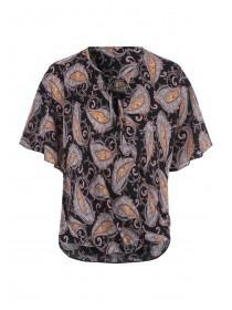 Womens Black Paisley Print Twist Wrap Top