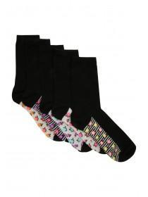 Womens Black 5pk Socks