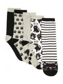 Womens 5pk Monochrome Cat Socks