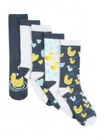 Womens 5pk Navy and Grey Duck Socks