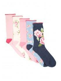 Womens 5pk Rose Socks