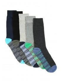Mens 5pk Blue Socks