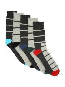 Mens 5pk Grey Stripe Socks