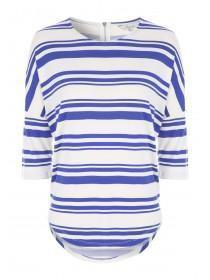 Womens Blue Stripe Zip Back Top