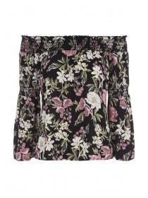 Womens Black Floral Shirred Detail Bardot Top