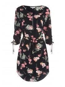 Womens Floral Tie Waist Tunic Dress