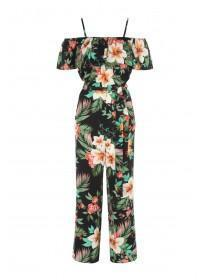 Womens Black Floral Jumpsuit with Detachable Straps