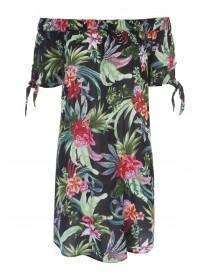 Womens Black Tropical Print Bandeau Dress