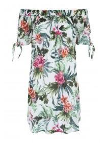Womens White Tropical Print Bandeau Dress