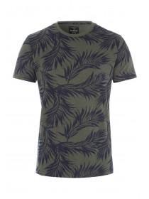 Mens Green Leaf Print T-Shirt