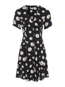 Womens Monochrome Floral Button Through Dress