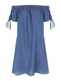 Womens Blue Tencel Split Sleeve Bardot Dress