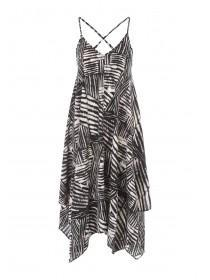 Womens Monochrome Aztec Hanky Hem Dress