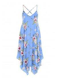 Womens Blue Floral Hanky Hem Dress