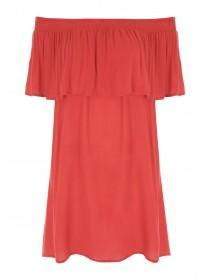 Womens Red Bardot Dress