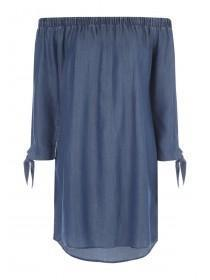 Womens Blue Bardot Tie Sleeve Dress