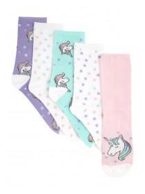 Girls 5pk Unicorn Socks