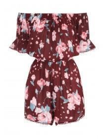 Womens Floral Bobble Trim Playsuit