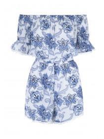Womens Blue Floral Bobble Trim Playsuit