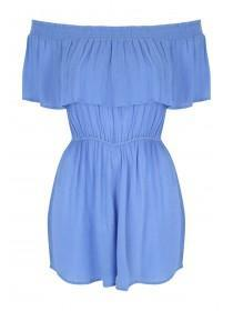 Womens Blue Bardot Ruffle Playsuit