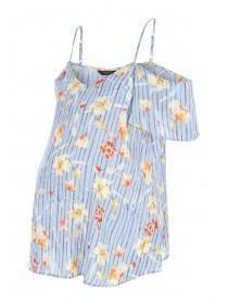 Maternity Blue Floral Cold Shoulder Top