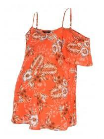 Maternity Orange Floral Cold Shoulder Top