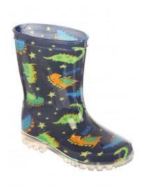 Boys Blue Dinosaur Light Up Wellies