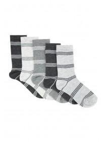 Boys 5pk Grey Stripe Socks