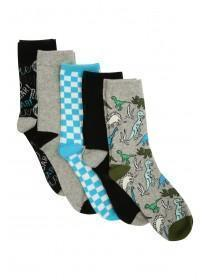 Boys 5pk Grey Dinosaur Socks