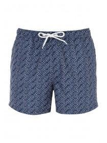 Mens Navy Geometric Swim Shorts