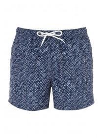 Mens Navy Geometric Swim Shorts