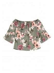 Older Girls Khaki Floral Smock Top