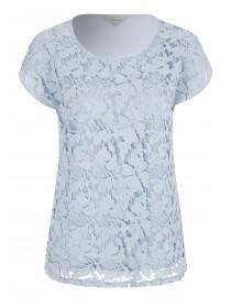 Womens Light Blue Lace Front T-Shirt