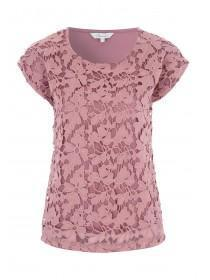 Womens Pink Lace Front T-Shirt
