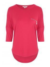 Womens Pink Zip Front Top