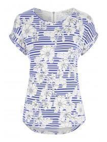 Womens Blue and White Floral Stripe Top