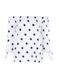 Womens Monochrome Spot Bardot Top