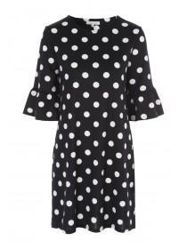 Womens Monochrome Spot Dress