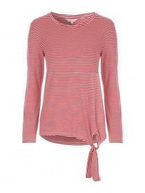 Womens Red Stripe Front Knot Top