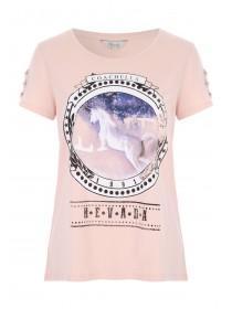 Womens Pale Pink Unicorn T-Shirt